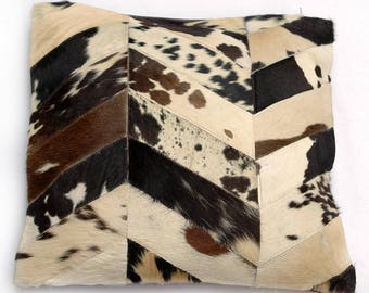 Natural Cowhide Luxurious Patchwork Hairon Cushion/pillow Cover (15''x 15'')a247