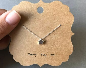 Tiny Mini Star Silver Necklace - Sterling Silver