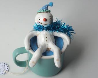 Snowman in Light Aqua Mug Folk art sculpture from polymer clay