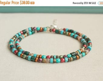 Close Out Sale Sterling Silver double Wrap Beaded Anklet