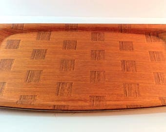 Vintage Made in Sweden Silva Garanterer Teak Wood Serving/Vanity Tray with Checkerboard Pattern. Mid Century Modern, 1960's Minimalist Decor