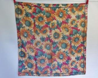 Vintage chiffon scarf sunflower design  75m x 78cm