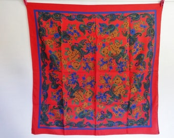 Vintage Red Paisley scarf 75cm x 76cm