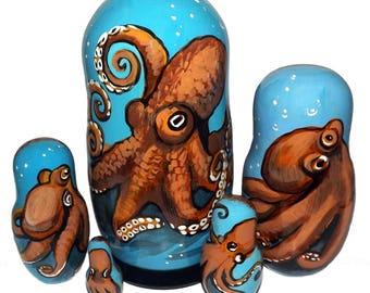 Octopus on Five Russian Nesting Dolls. Sea World.