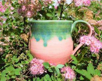 Pink and green mug