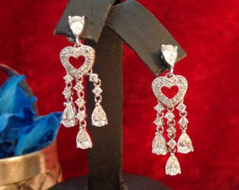 """Sterling Silver & CZ Teardrop Dangle Earrings - 1 1/2"""" long"""