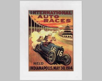 Vintage 1914 Indianapolis auto race advertising poster on foam board