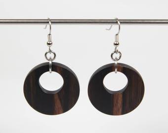 Amara Ebony Earrings, Wooden Hoop Earrings, Creole Earrings, Wood Earrings, Wood Dangle Earrings, Wooden Earrings, Wooden Drop Earrings
