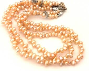 Vintage Genuine Rose Cream Potate Pearl Necklace Handmade 3 Row Nice (VF017)
