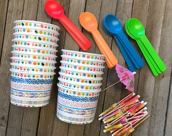 Ice Cream Sundae Kit, 12 Ounce Patterned Paper Treat Cups, Eco Friendly Plastic Spoons, Umbrella Picks - 16 of Each