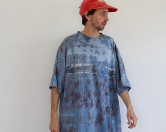 Oversized 90s Dragon Tie Dye Shirt XL