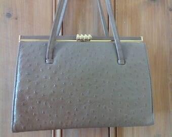 Vintage faux ostrich maclaren handbag 1950s-60s tan