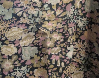 Liberty Fabric black Foral green polyester