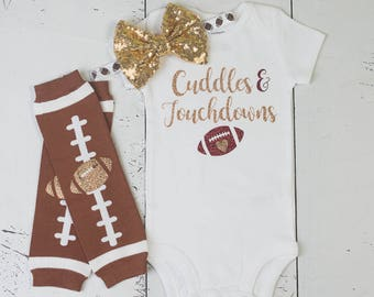 Baby Girl Football Outfit,Football Baby Shirt,Cuddles and Touchdowns,Football Bodysuit,Football Headband,Baby Football Outfit