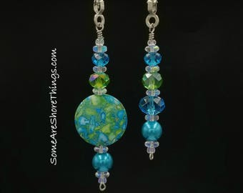 Ceiling Fan and Light Pull Chains Set.  Aqua and Green Home Decoration.  Handmade.  Teal, Aqua, Green Reconstituted Stone.