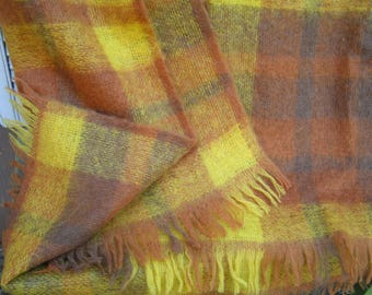 Vintage Retro Colors Creagaran Throw with Fringe Made in Scotland with Label Wool Mohair Nylon Blend Plaid Tartan Blanket