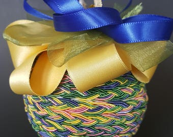 Yellow, Blue, Pink, and Green Braid Ornament