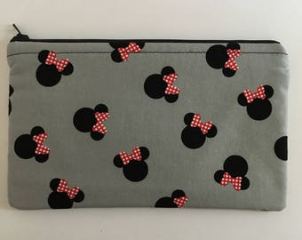 Disney-Inspired Minnie Mouse Heads Handmade Fabric Large Zipper Pouch/Cosmetic Bag