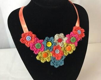 Flower Power Bib Crochet Necklace