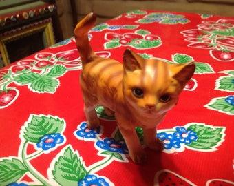 Vintage hand painted tabby cat figurine- Japan