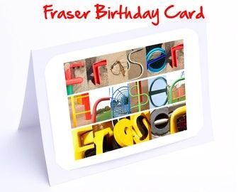 Fraser or Frazer Personalised Birthday Card