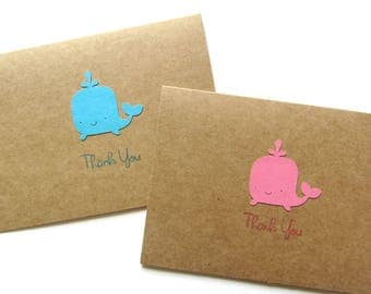 Whale Thank You Cards - Baby Shower Thank You Cards - Beach Thank You Cards - Nautical Thank You Card - Birthday Thank You Cards - Set of 10