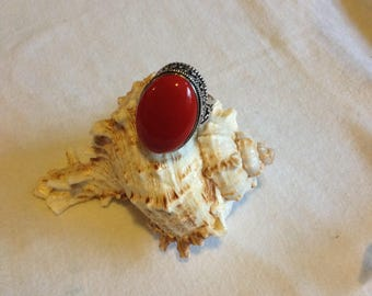 Vintage Red Coral Ring - Antique Red Coral Ring - Sterling Silver Red Coral Ring - Red Coral Ring - Coral Ring - Sterling Silver