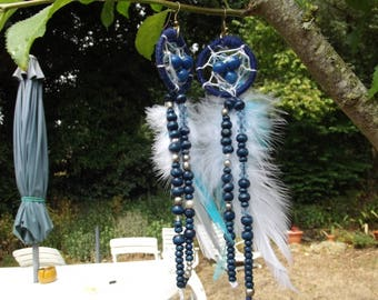 "feathered earrings ""dreamcatcher blue h 10 / 15cm"""