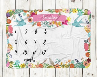 Personalized Monthly Milestone Baby Blanket - baby blanket with colorful flowers, birds, customized, monogram baby blanket, baby girl gift