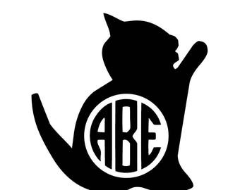 Cute Cat Decal - Monogram Vinyl Decal - Kitten Decal - For Phone, Car, Computer, Walls - Home Decor - Personalized Decal