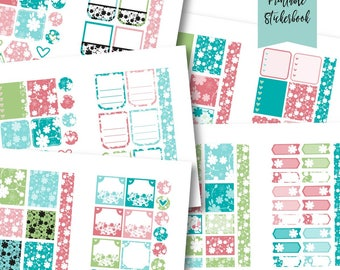 Floral Silhouettes Sticker Book: Coral & Turquoise PRINTABLE Sticker Kit -Instant Download, printable planner stickers