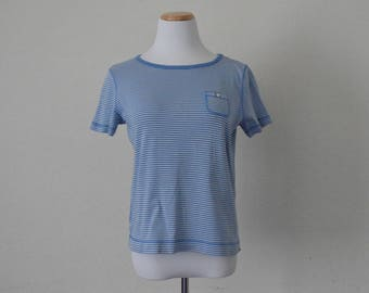FREE usa SHIPPING Vintage 1980s candy striped women's blue top/blouse/ striped shirt short sleeves / size S