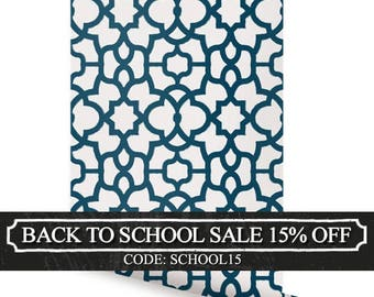 Trellis Navy Peel & Stick Fabric Wallpaper Repositionable
