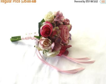 ON SALE Flower Girl's Small Pink Rose Bouquet with Mauve Hydrangea, Flowergirl Posy