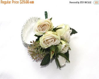On Sale Corsage Bracelet - Lady's Diamante Bracelet Corsage with Cream Roses