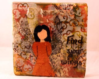 Find your wings,Mixed Media Art, Collage, Original, One of a kind, 5.5 x 5.5 inches,wall art, decor,Angel,wood block