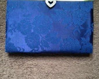 Navy Blue Brocade purse