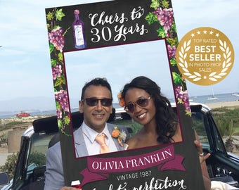 Wine Birthday Photo Prop - 30th Birthday Photo Prop - 40th Birthday - Girls Weekend - Bachelorette - Cheers to 30 Years - PDF