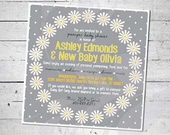 """Daisy Pamper Baby Shower Invitation 