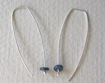 Long marquise silver earrings with lapis rondelles