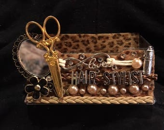 Womens cheetah business card holder display stand hairdresserhair stylist business card holder colourmoves Images