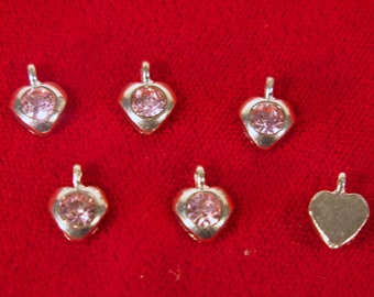 "10pc ""opal rose"" heart rhinestone charms in antique silver style (BC1347)"