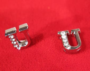 """BULK! 30pc """"letter U"""" 8mm slide charms in antique style silver (BC1375-U)"""