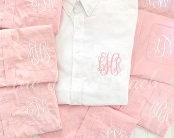 Monogrammed Button Up, Monogrammed Brides Shirt, Monogrammed Bridesmaid Shirt, Monogrammed Button Down, Bridesmaid Gift