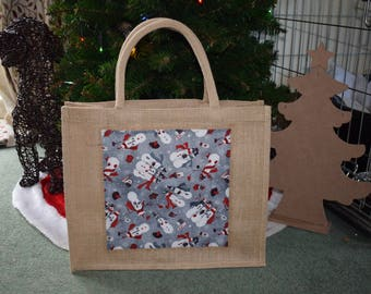 Snowmen Christmas themed Jute Bag. Snowman Bag, Snowman Hamper Gift Bag, Handmade Gift Bag, Christmas Gift Bag, Snowmen Hamper Gift Bag