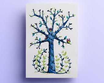 A4 print - tree OWL - decoration - graphic illustration