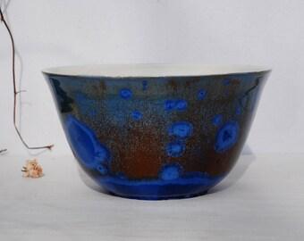 Blue salad bowl, unique ceramic bowl, crystalline glaze stoneware, crystal pottery bowl, crystalline pottery bowl, kitchen decor, ceramique