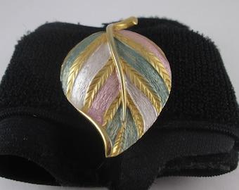 Vintage Park Lane Signed Leaf Brooch Pin - Gold Tone Painted
