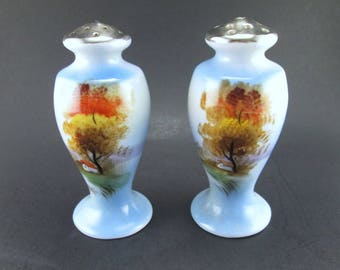 Vintage Ceramic Blue Salt and Pepper Shaker Set Landscape Made in Japan