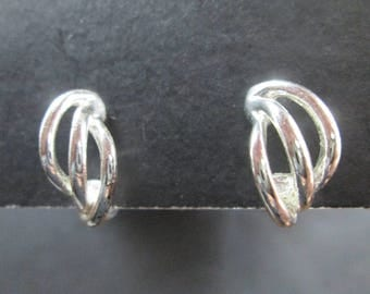 Vintage Napier Silver Tone Screw Back Earrings Signed
